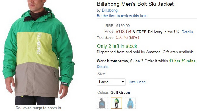 Comprar abrigo billabong ski nieve barato