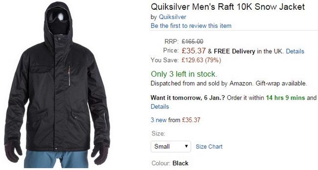 Comprar abrigo quicksilver ski precio barato