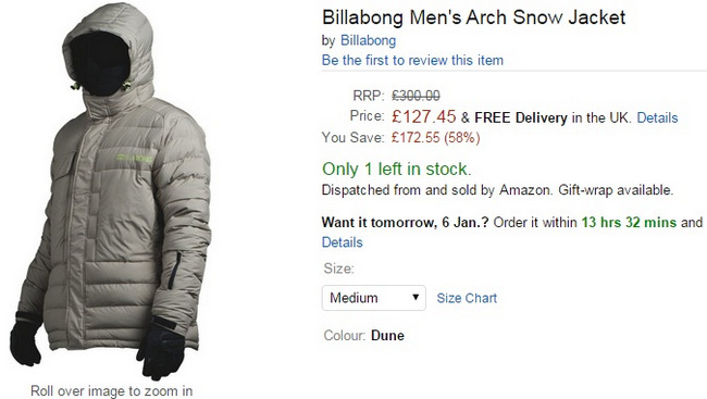 Comprar abrigo ski billabong ofertas amazon