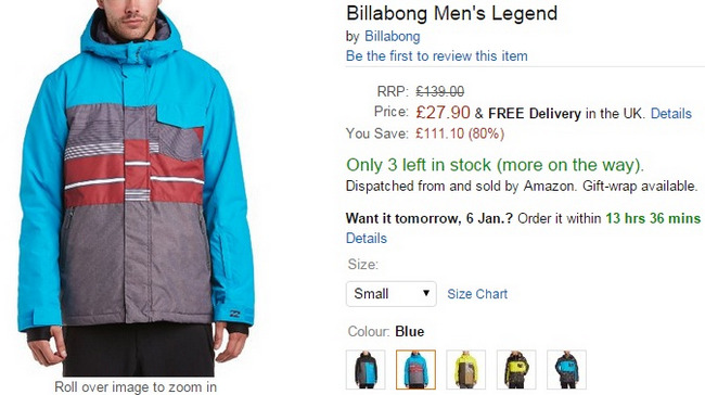 billabong abrigo ski en oferta amazon